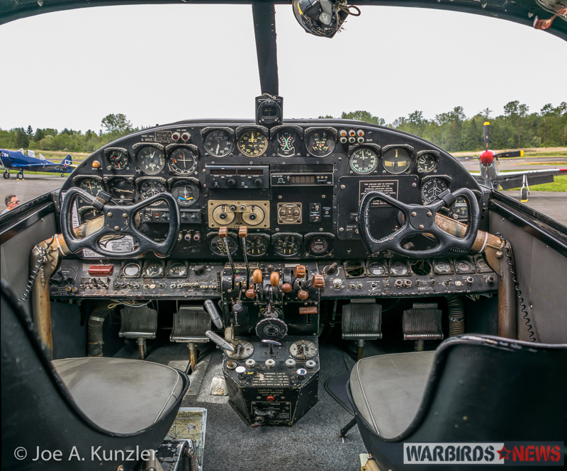 The Historic Beech 18 Cockpit and Through the Cockpit… the Heritage Flight Museum Flightline (photo by Joe A. Kunzler)