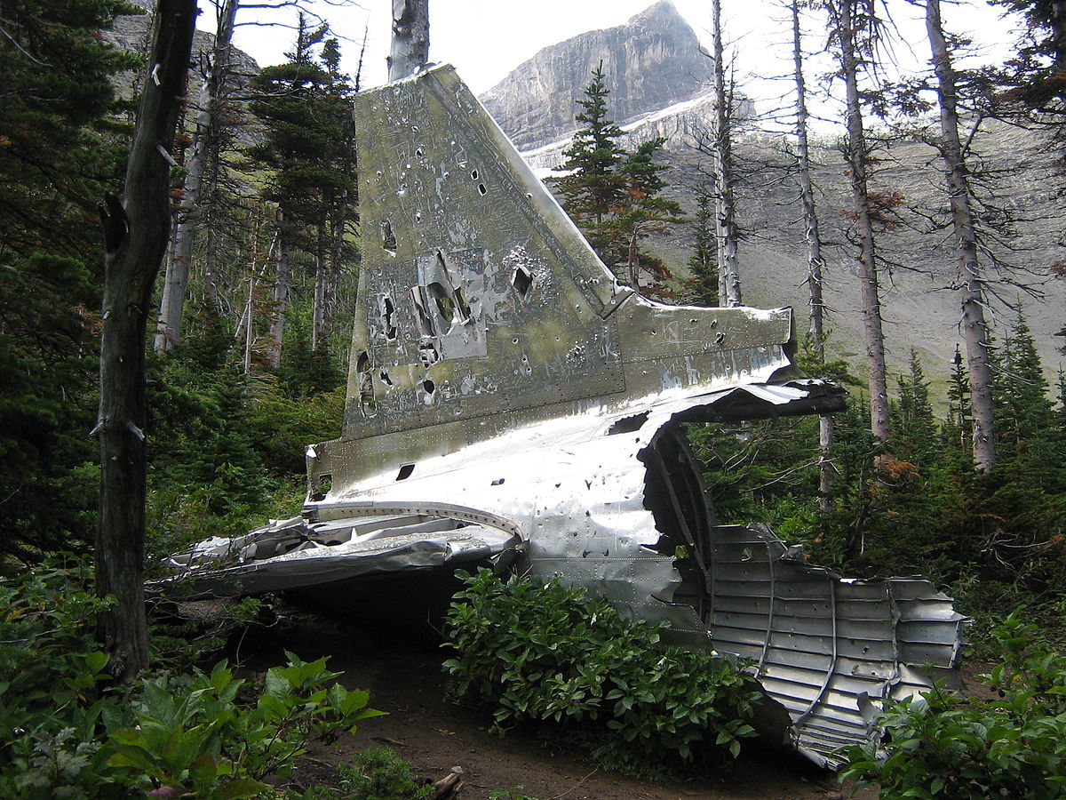 The tail section from a RCAF Douglas Dakota which crashed on January 19th, 1946 while on a flight from Comox, British Columbia to Greenwood, Nova Scotia. (photo via Wikipedia)