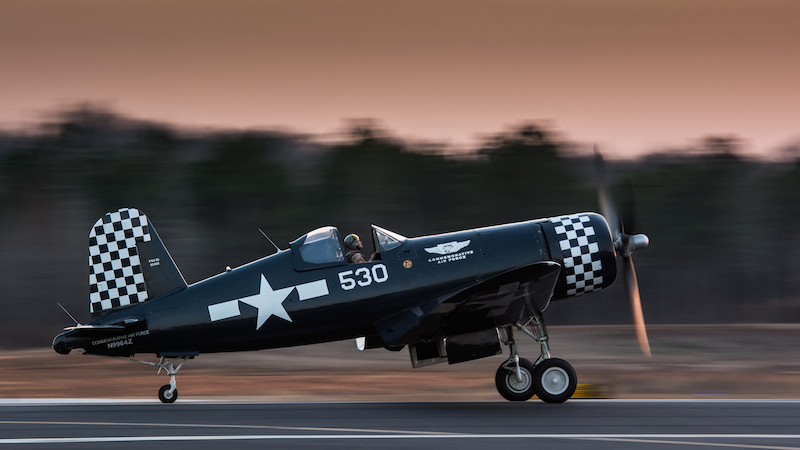 Stunning shot of the Dixie Wing's Corsair captured at sunset by Douglas Glover.