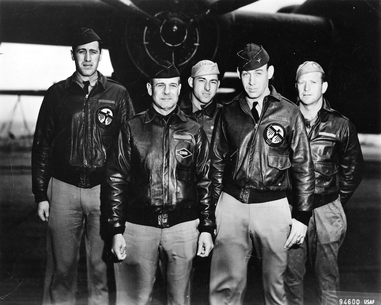 Doolittle Tokyo Raiders Crew 1 Left to Right:  Lt. Henry A Potter, Navigator- Lt. Col. James H. Doolittle, Pilot - S/Sgt Fred A Braemer, Bombardier -  Lt. Richard E. Cole, Co-Pilot -  S/Sgt Paul J. Leonard, Engineer-Gunner