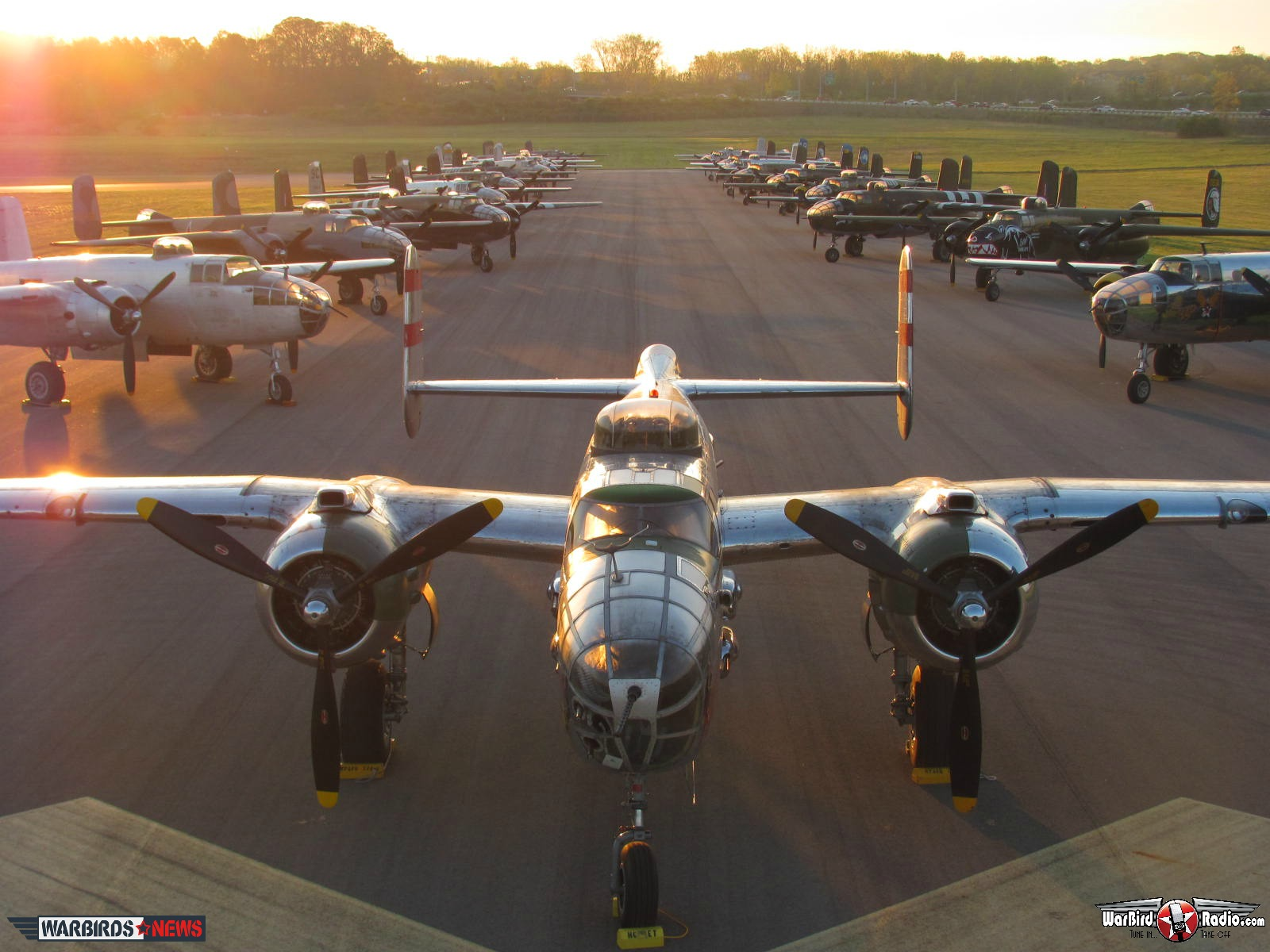 B-25s lined up at the 2102 Doolittle Raiders Reunion ( Photo by Matt Jolley)