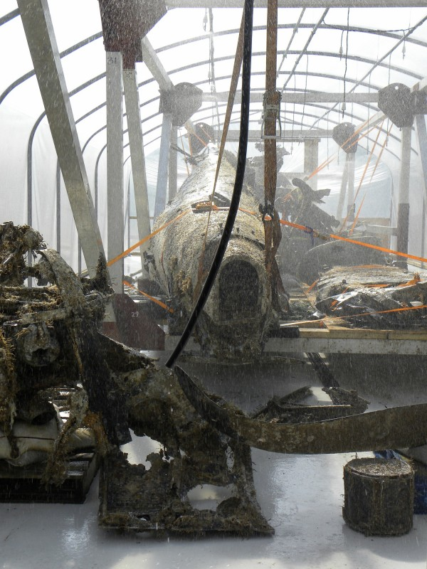 Another image of the Dornier's fuselage in the desalination tent at RAF Museum Cosford. (photo credit: © Trustees of the Royal Air Force Museum 2014)