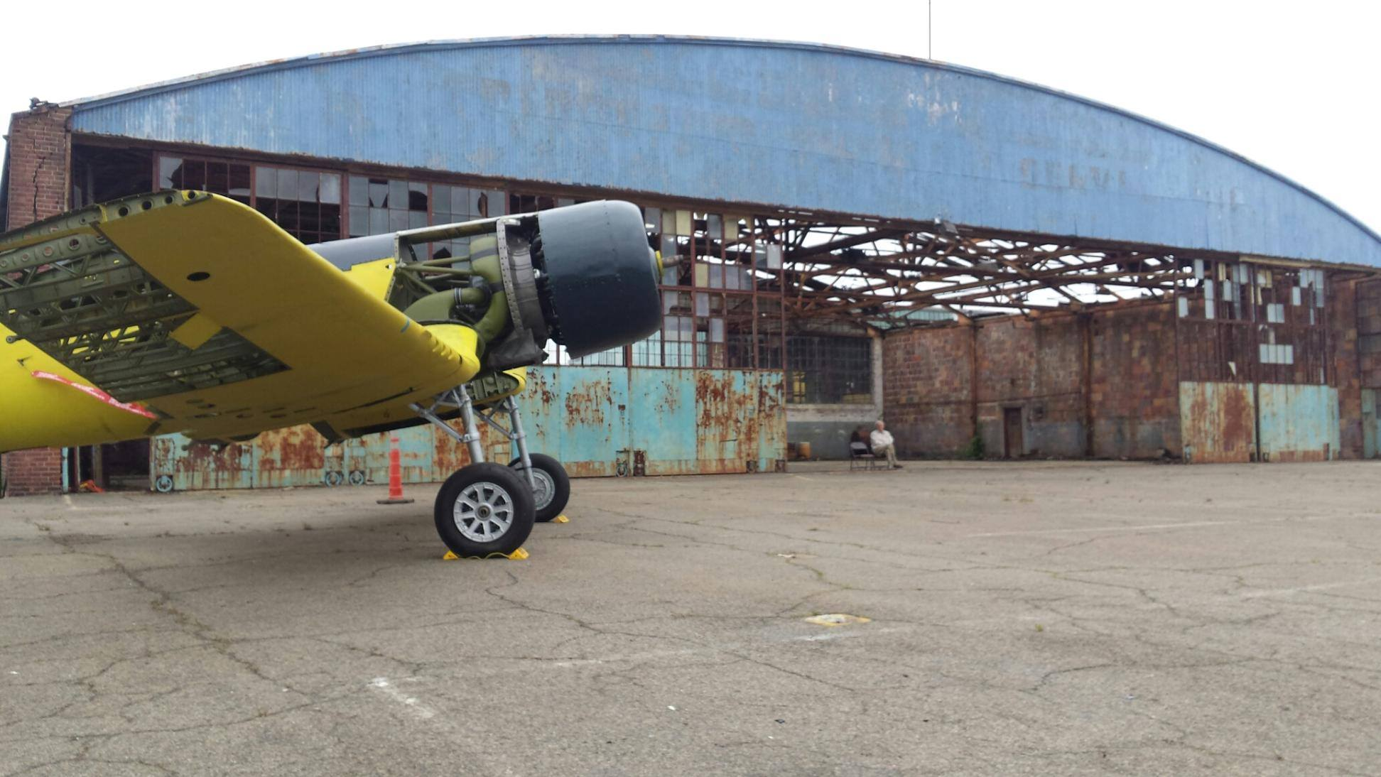 A neat shot of the CASC Corsair outside the Curtiss Flying School Hangar. Ed McGuinness, Corsair Restoration Project Manager and Treasurer to the Board of Directors, took the photograph. (photo via CASC)
