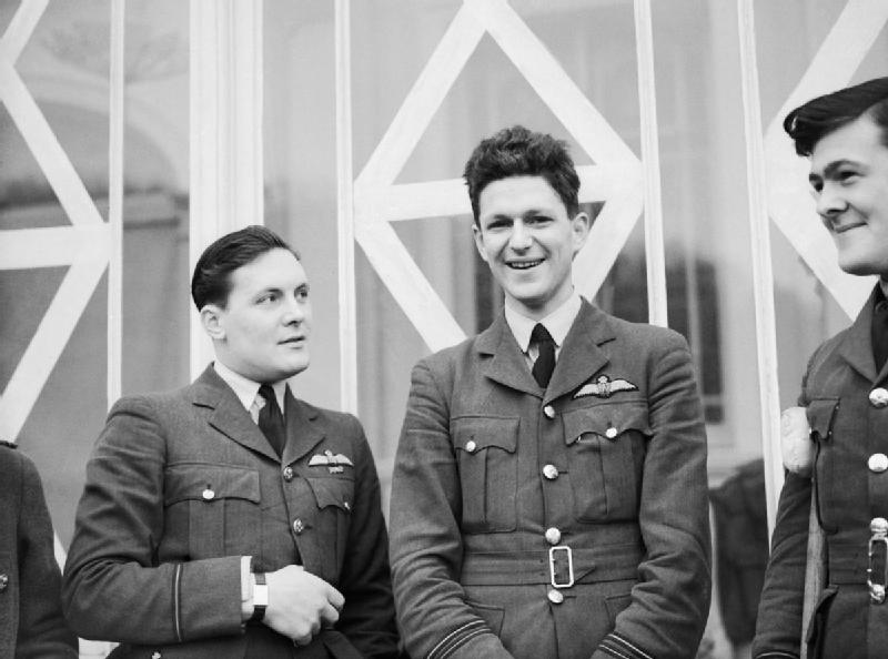 Eric Brindley 'James' Nicholson (center) at the convalescent hospital, well on his way to recovery following his harrowing ordeal over England in the Battle of Britain. (photo Imperial War Museum via Wikipedia)