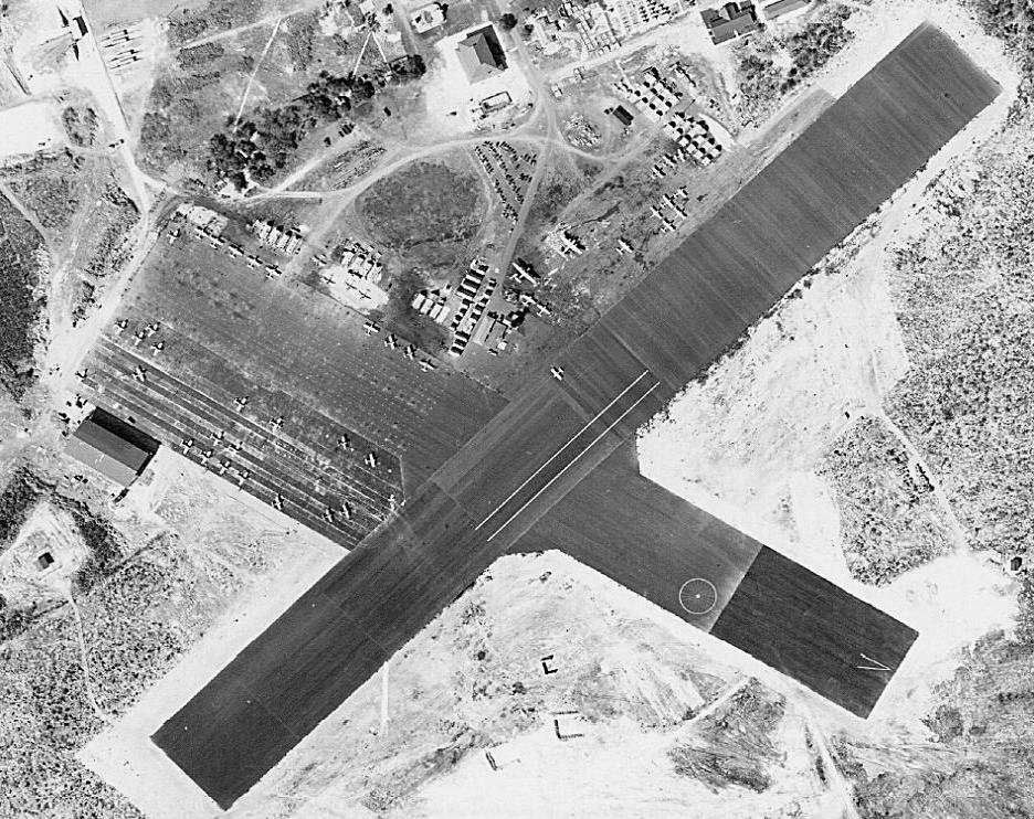 MCAS Ewa on Dec. 2, 1941. The parallel white stripes on the runway encompassed roughly the same area as an aircraft carrier deck.