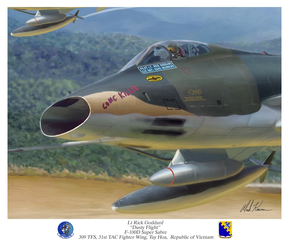 The painting of Gen.Goddard in his Super Sabre by Mark Karvon, which was indirectly the inspiration behind Goddard endeavoring to preserve his old wartime mount for future generations.