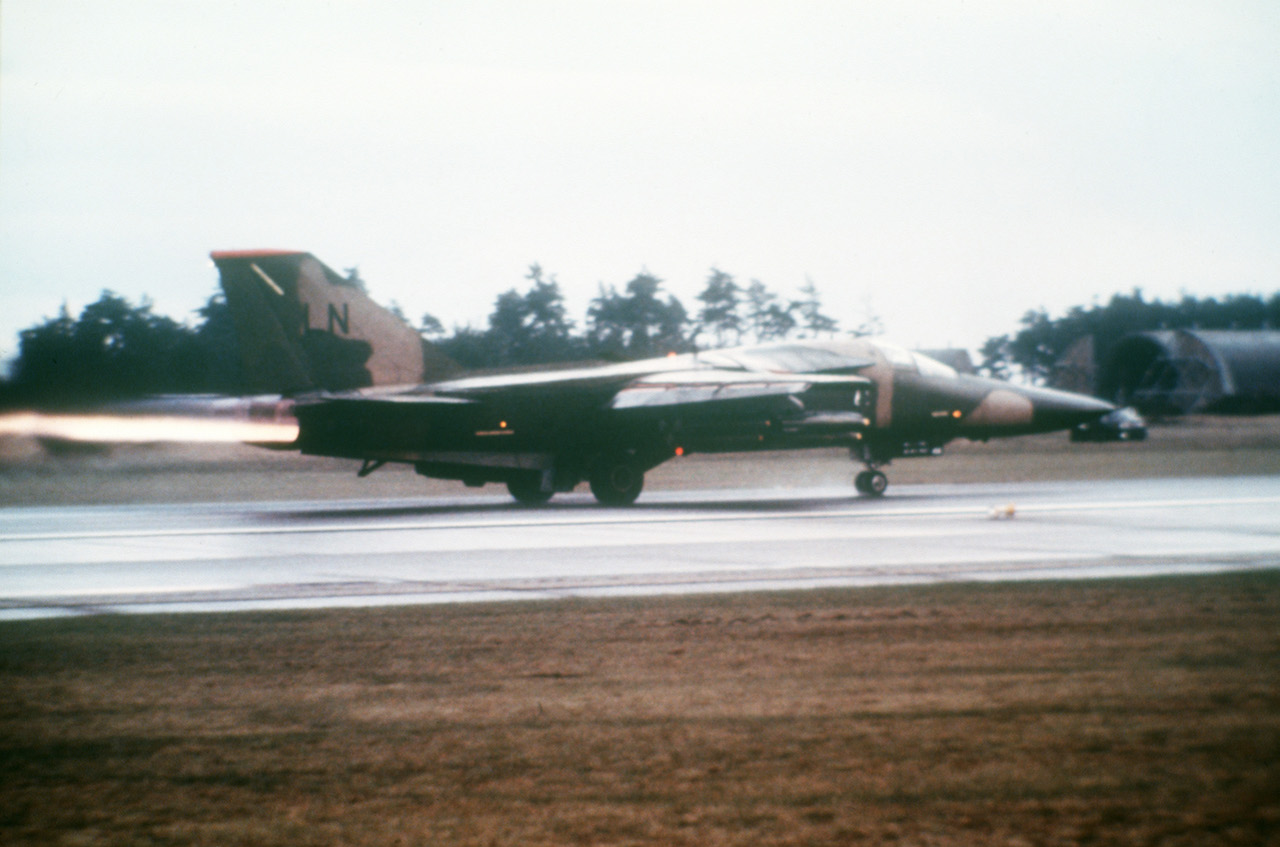 An F-111F Aardvark from the 495th Tactical Fighter Squadron launches in support of Operation El Dorado Canyon at Royal Air Force Lakenheath, England, April 14, 1986. The operation was the conclusion of extensive joint service and multinational military cooperation designed to ensure the complete and total destruction of terrorist training camps linked to the attack in the African nation of Libya. (Courtesy photo)