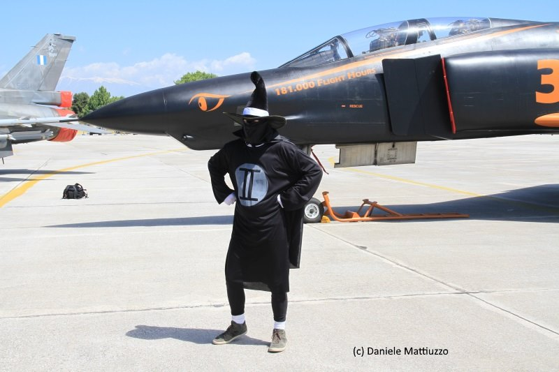 A man poses beside the 348TRS RF-4E display ship dressed in a real-life representation of the famous Phantom II cartoon character 'Spooky'. Note the title on the aircraft's nose 181,000 Flight Hours... This is the total number of flying hours that the unit flew in 64 years, of wich 98,000 were on RF-4E Phantoms. (photo by Daniele Mattiuzzo)