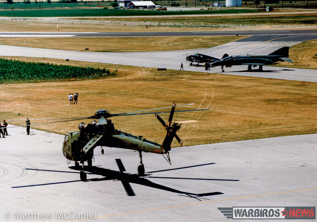 The Army CH-54 Tarhe 'SkyCrane', the Indiana Wing of the CAF's Cessna T-50 Bobcat, and the F-4C immediately after delivery to the former Bakalar Air Force Base in 1988. (Photo by Matthew McDaniel)