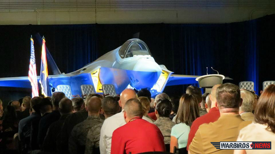 The 56th Fighter Wing's first F-35 was unveiled to the public in a special ceremony of Friday morning. (photo by Elena DePree)