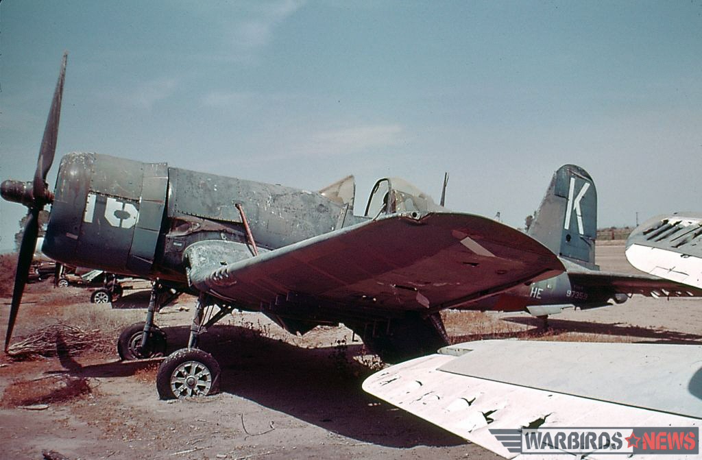 F4U-4 Bu.97359 while in storage with Bob Bean at Mosely Field in Arizona during May, 1970. (photo by Hank Rappone via Jim Sullivan)