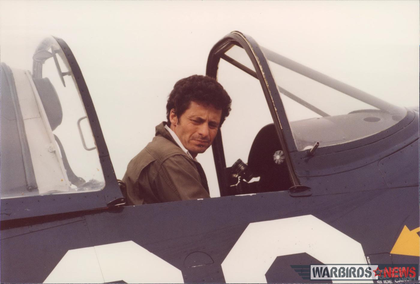 Steve Rosenberg in the cockpit of F4U-7 Bu.133693. (photo from Steve Rosenberg Collection)