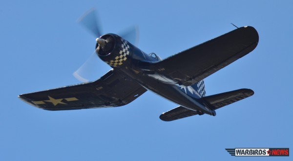 Flyby to please the crowd who went to Falcon Field to welcome back the Corsair (Image credit Moreno Aguiari)