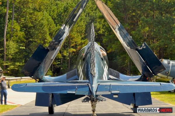 Wings folded, finally home! ( image credit Moreno Aguiari- Warbirds News)