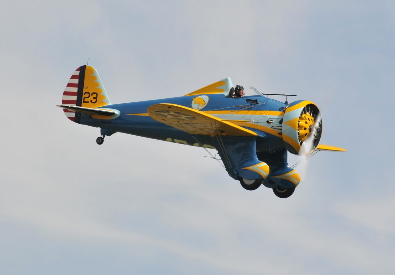 Planes of Fame's unique airworthy Boeing P-26 attended Flying Legends with Steve Hinton at the controls. (photo by Luigino Caliaro)
