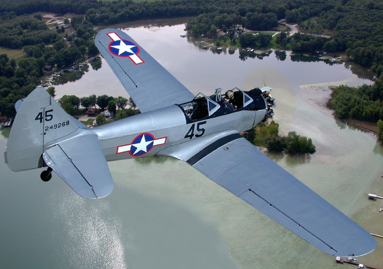 Fairchild PT-23HO_N52020 (8)_Composite Photo_Over Fishers Lake in Three Rivers, MI copy