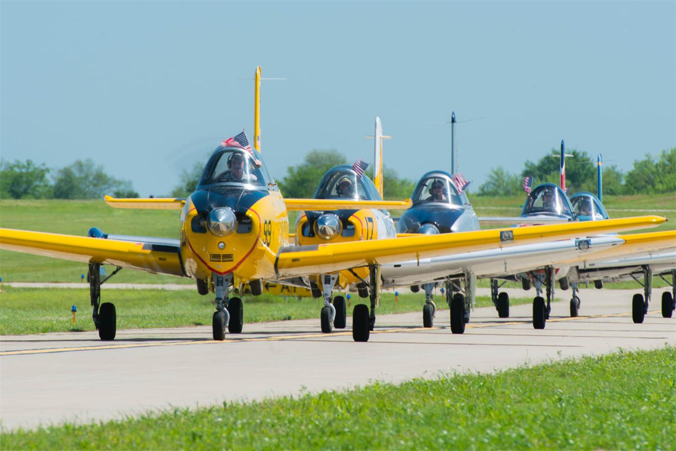 Falcon Flight lining up for take off. (photo via Take to the Skies AirFest)