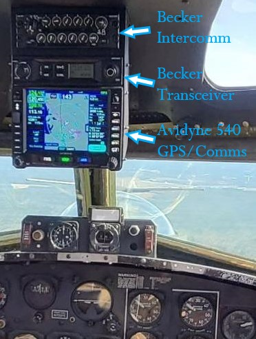 Flight Deck – Becker Intercomm, XCeiver, Avidyne 540 GPS Radio