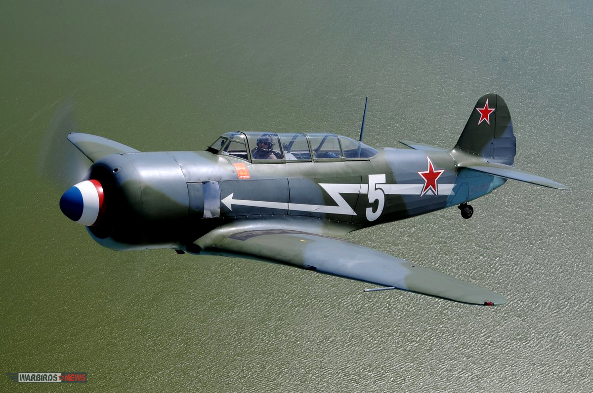 The Yak-11 masquerading as her older brother, a Yak-3, in Normandie Neiman markings. (photo by Luigino Caliaro)