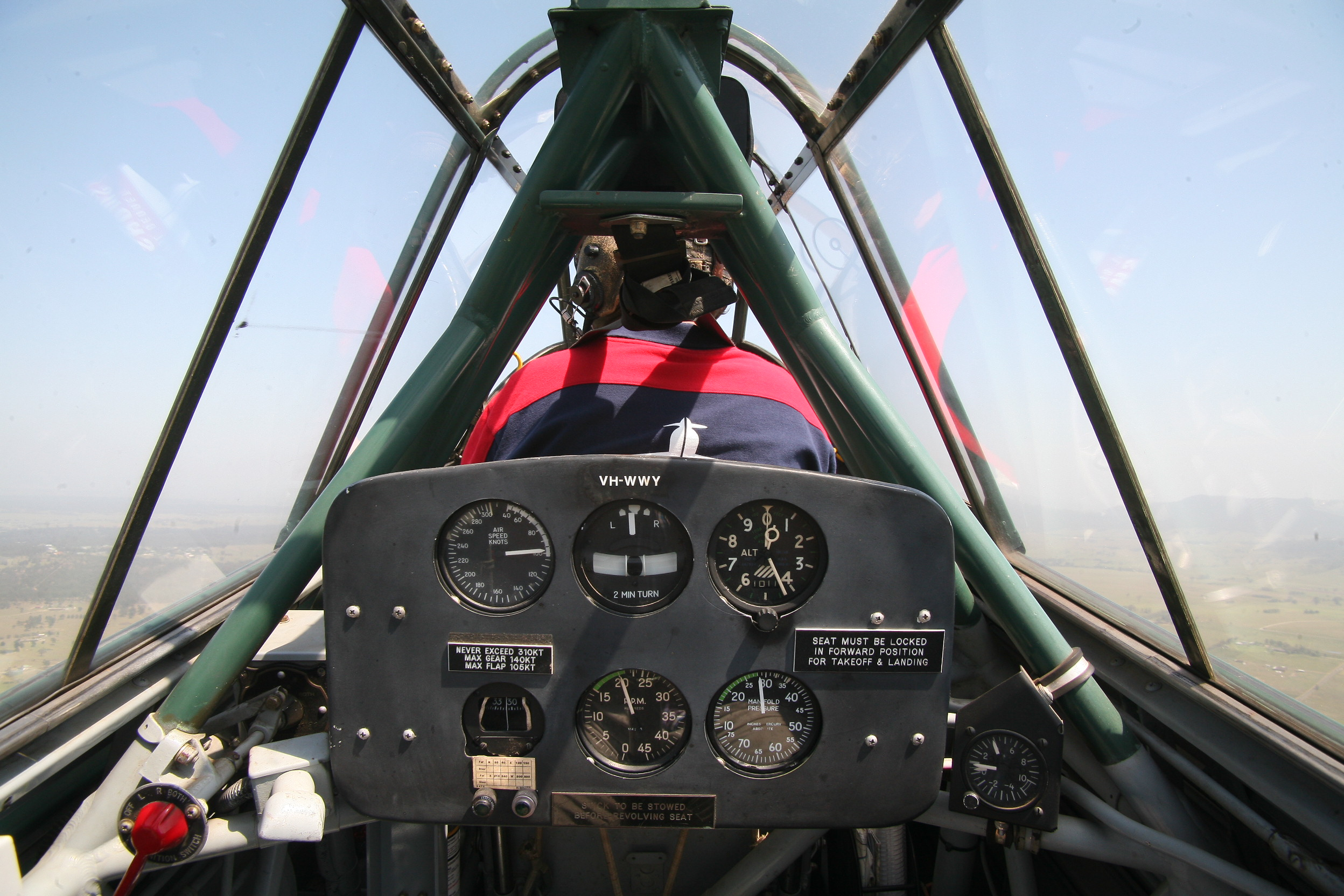 Flying with Paul Bennet in Aerohunter's CAC Wirraway. (photo by Phil Buckley)