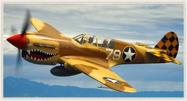 The P-40 will be on display and perform a flight demonstration. At 12:00 noon. ( Image credit Planes of Fame)