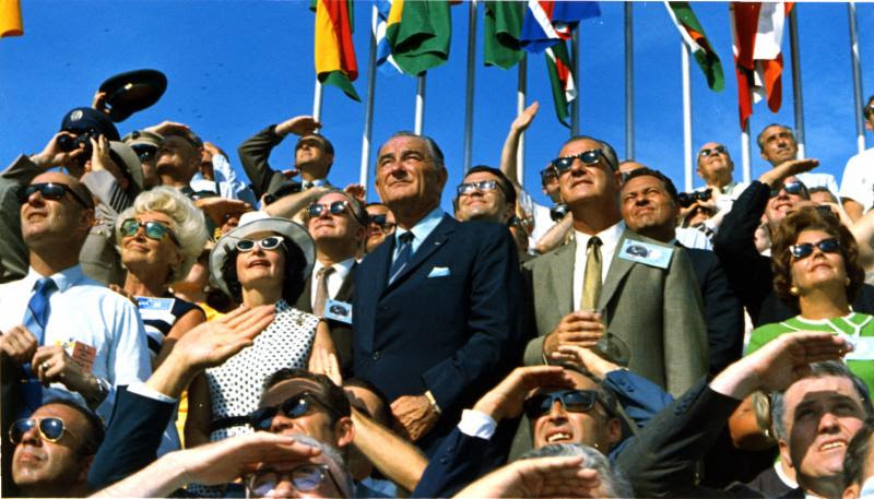Former President Lyndon B. Johnson and then-current Vice President Spiro Agnew are among the spectators at the launch of Apollo 11, which lifted off on July 16, 1969. (NASA photo)