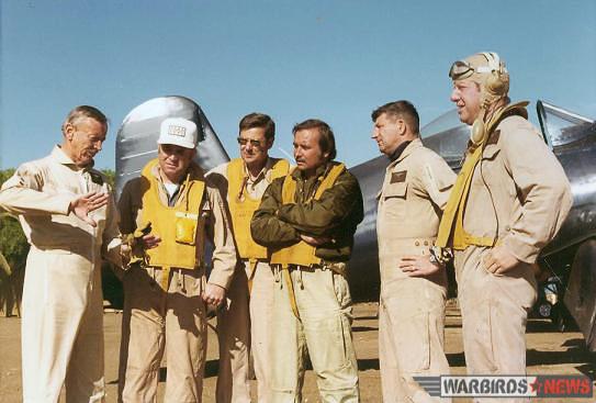 Some of the pilots on the set of Baa Baa Black Sheep: (l-r) Frank Tallman, unk, John Schaffhausen, Tom Friedkin , unk Junior Burchinal, Dan-Friedkin. (photo via Stephen Chapis)