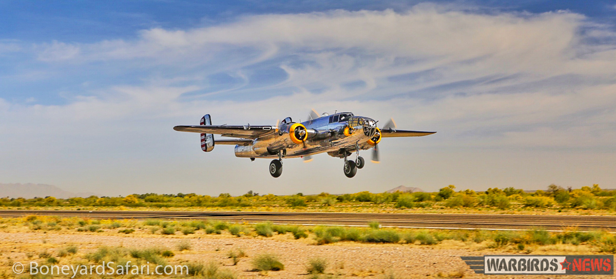 The Mid America Flight Museum's B-25J takes off to join the convoy bound for Mount Pleasant, Texas. On board is renowned aviation photographer, Tyson Rininger, who has taken some doubtlessly marvelous images from the tail gun and waste positions! (photo with permission from BoneyardSafari.com)