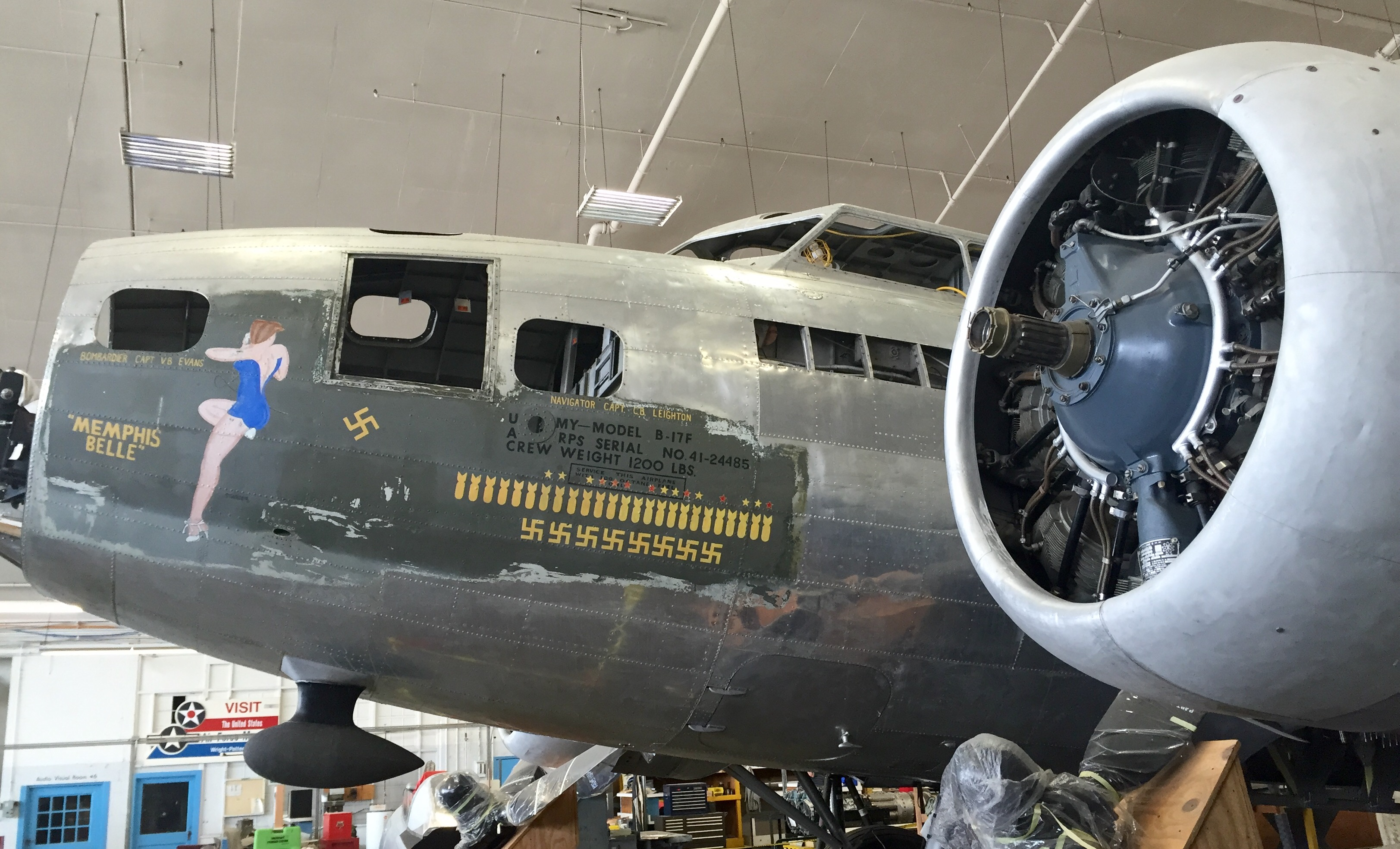 B-17F 'Memphis Belle' as she now sits in the restoration hangar at Wright-Patterson AFB in Dayton, Ohio. (photo by Frank Johnson)