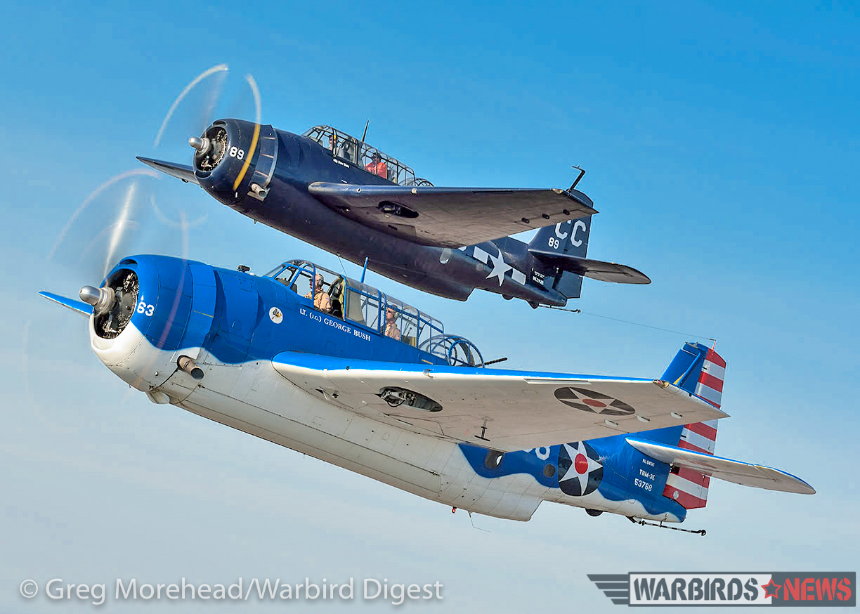 A pair of TBM's tuck in close to the camera ship. Tom Buck's TBM-3U Bu.53768 is in the foreground, while the Yaggie's TBM-3E Bu.53829 is above. (photo by Greg Morehead, courtesy of Warbird Digest magazine)