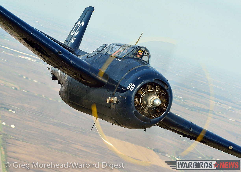 TBM-3E Bu.53829 bears down on the camera ship. (photo by Greg Morehead, courtesy of Warbird Digest magazine)