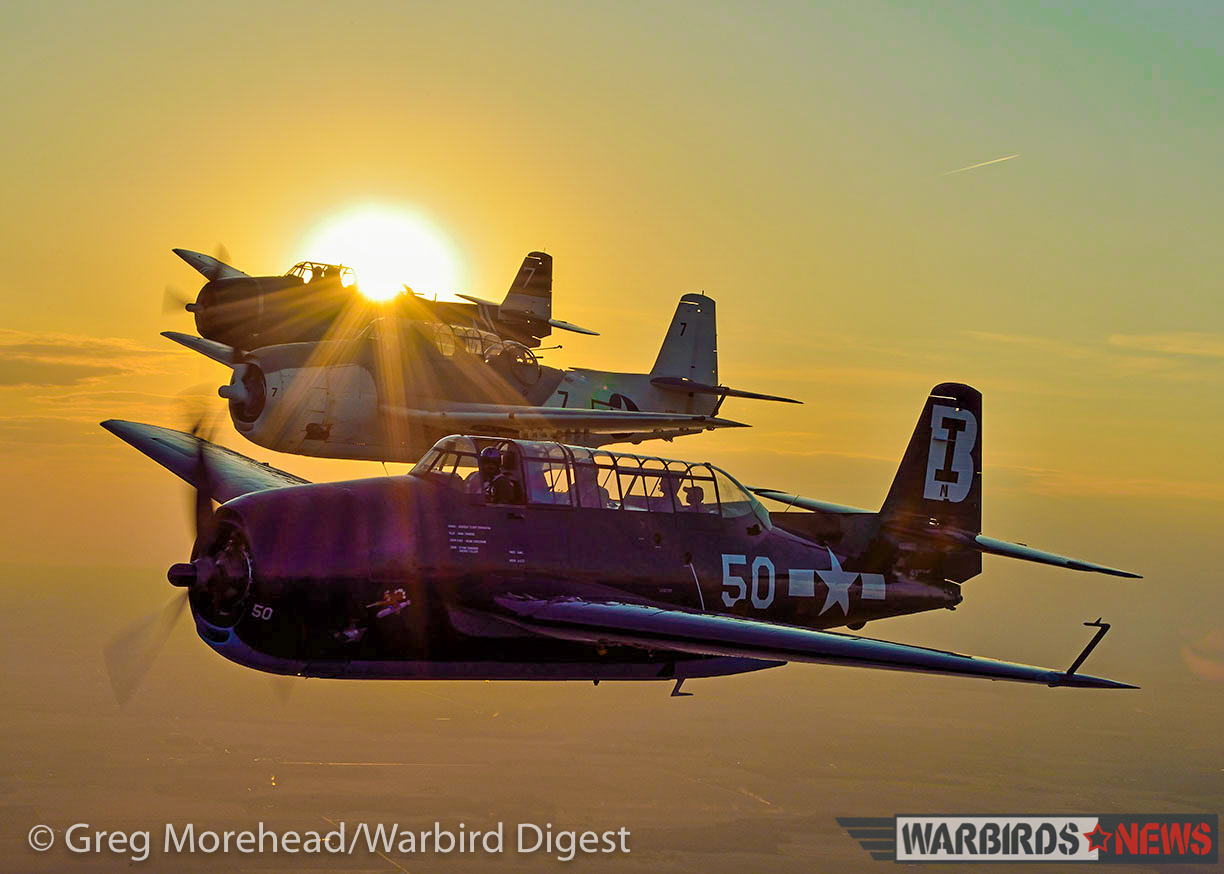 A glorious sunset formation shot of three TBMs. TBM-3E Bu.85650 is in the foreground with TBM-3E Bu. 85882 'Ida Red' in the middle and Brad Deckert's TBM-3E Bu.85828 in the background. (photo by Greg Morehead, courtesy Warbird Digest magazine)