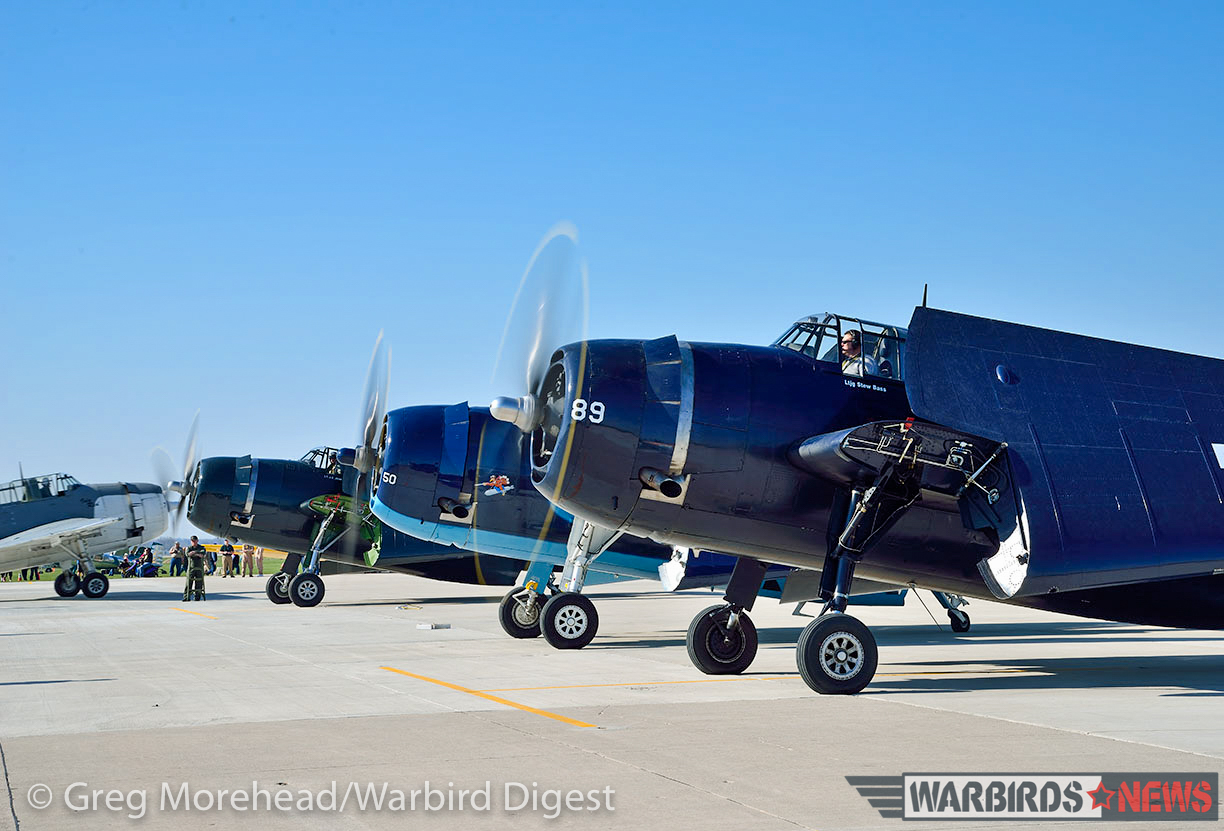 TBM's warming up prior to a formation flight. (photo by Greg Morehead, courtesy of Warbird Digest magazine)
