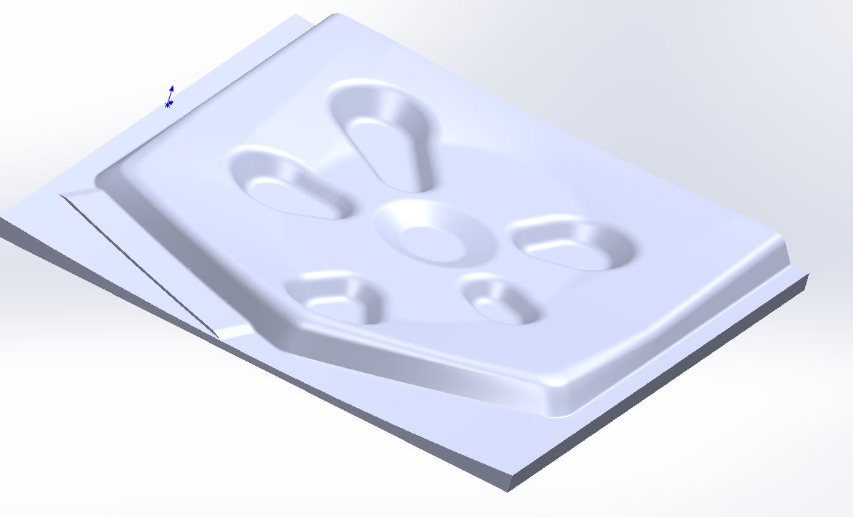 A computer generated model of the interior gear door skin. This is used to make an accurate die for forming the new parts. (photo via Tom Reilly)