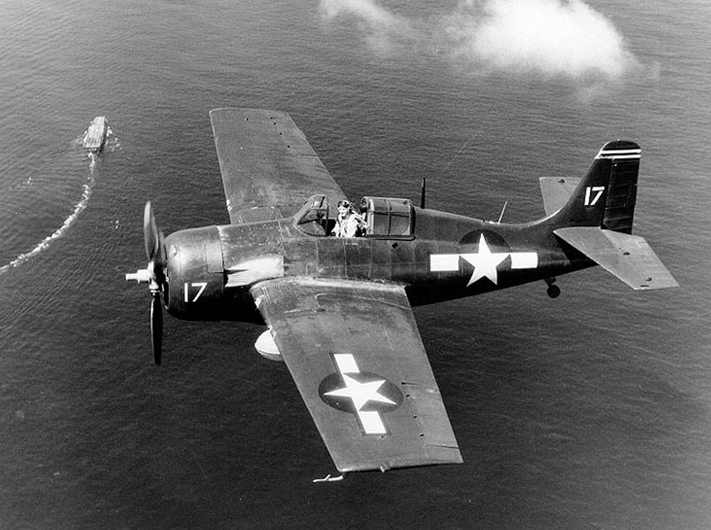 FM-2 Wildcat on combat air patrol over USS Santee (CVE-29) during the Leyte invasion - October 1944 ( Photo by US Navy)