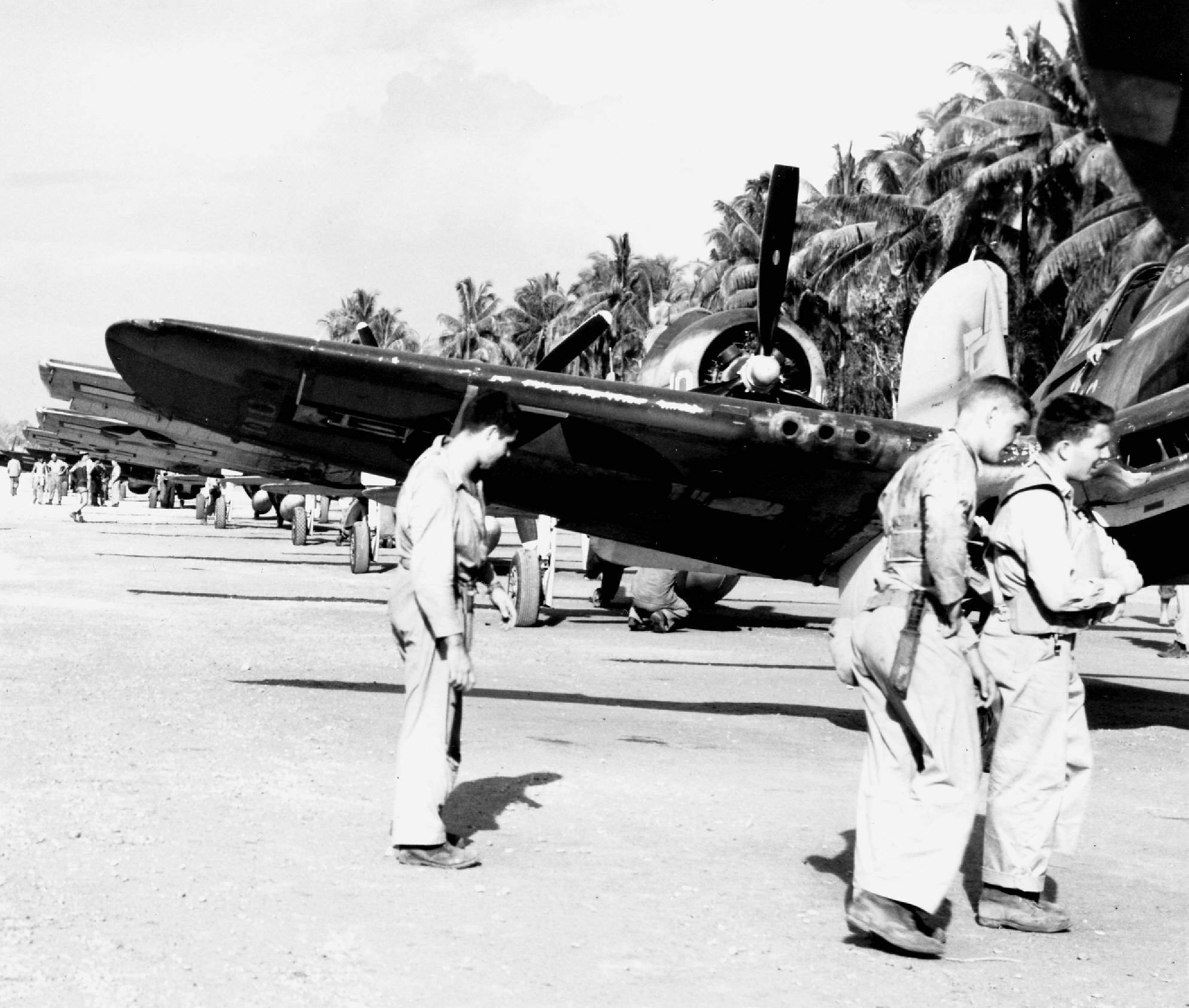 George Ashman Bill Heier & Ed Harper of VMF-214 at Cape Torokina. (Photo by Bruce Gamble Collection)