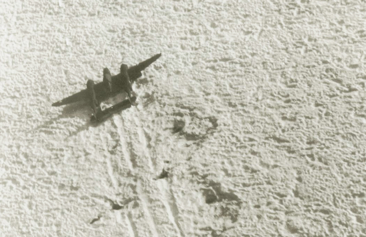 The squadron was forced to land on the Greenland ice cap on July 15, 1942 after hours of flying in bad weather and running low on fuel.