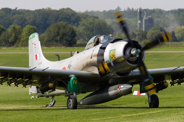 Douglas A-1 Skyraider, sporting a full compliment of bombs. (Image Credit: Andreas Zeitler)