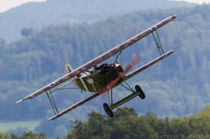 Fokker Albatros D.VII swoops over the show field. (Image Credit: Andreas Zeitler)