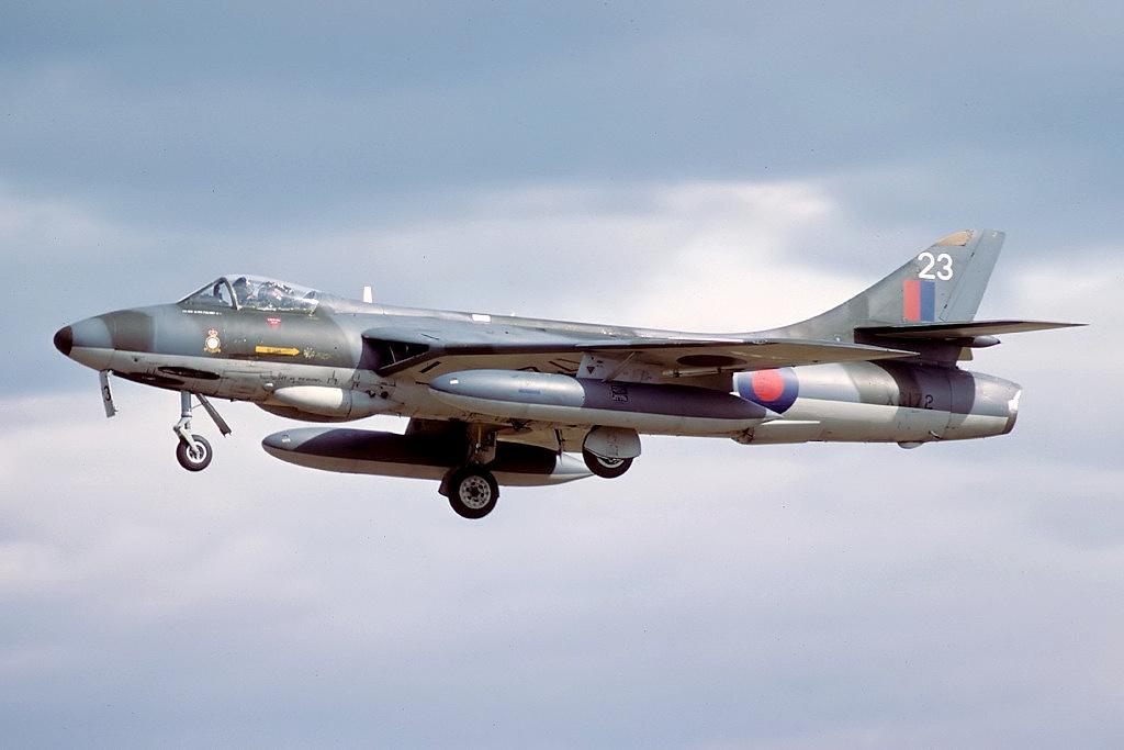 Hunter F6A in flight near RAF Abingdon, 1979