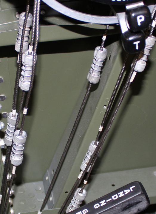 A detailed view of the throttle quadrant hook up connectors. (photo via Tom Reilly)