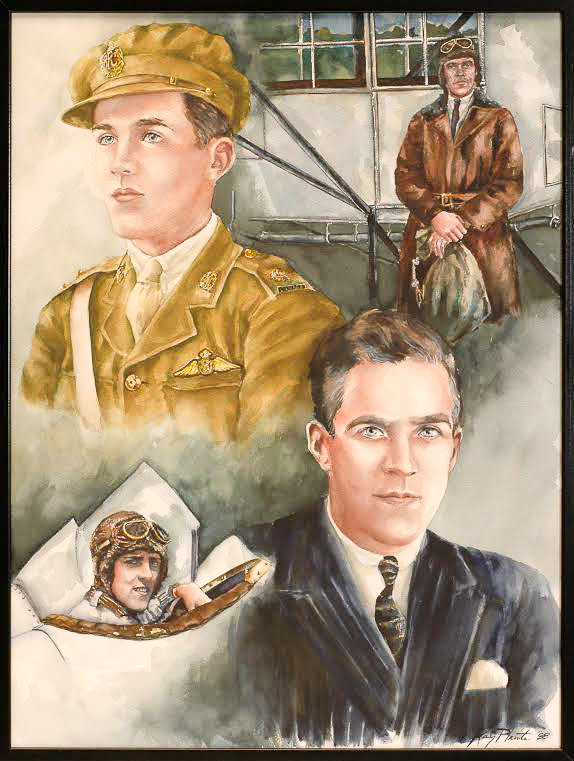An illustration of Canadian aviation pioneer Hubert Pasmore. His son, Godfrey, founded the Canadian Aviation Heritage Center (painting by Kay Plante)