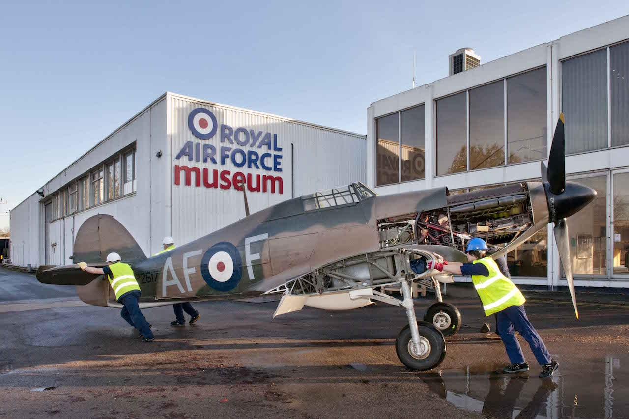 Hurricane on the move to make room to the Centenary Program.(photo by ©Trustees of the Royal Air Force Museum')
