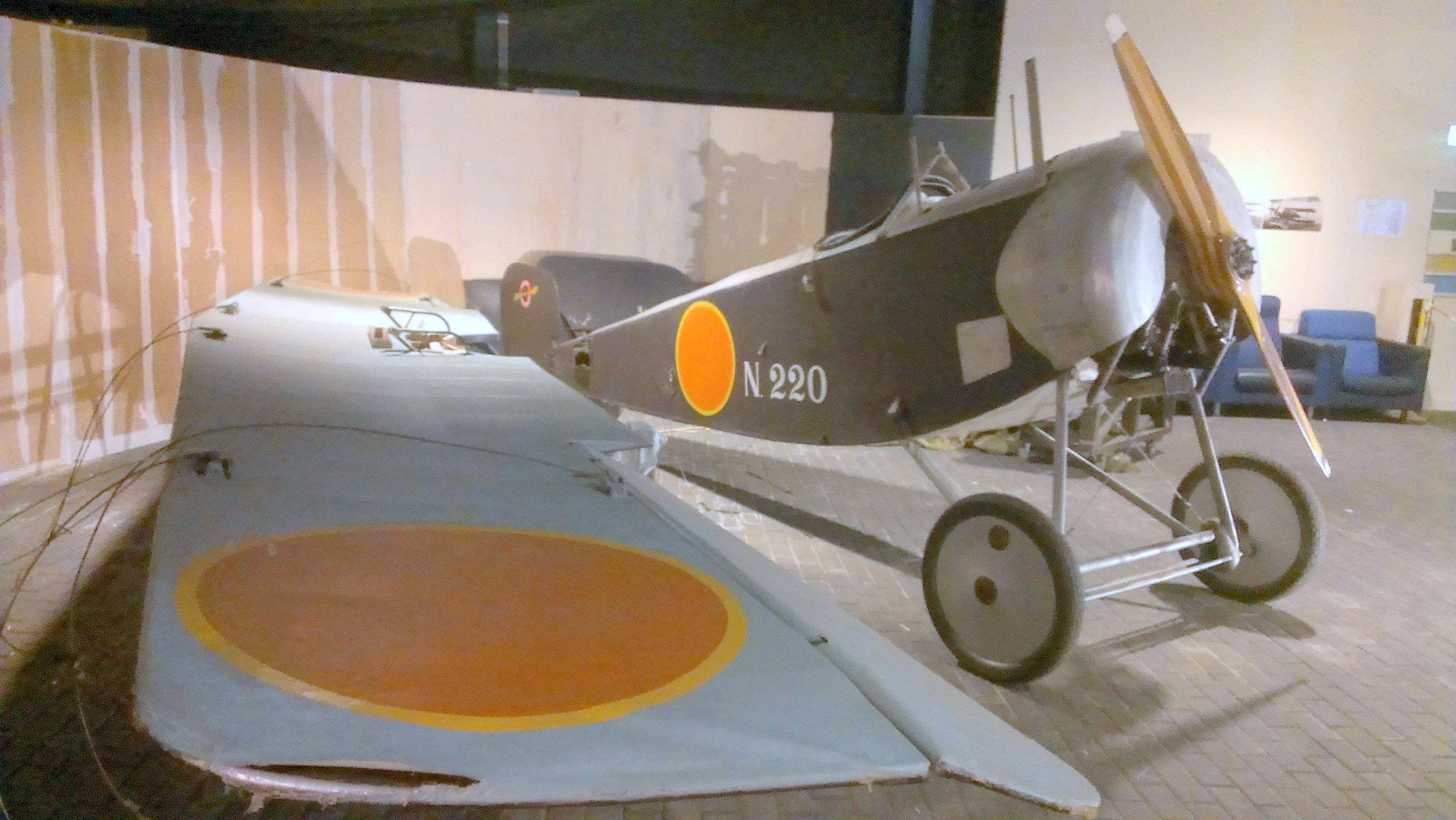 here is a picture from the Aviodrome (Lelystad, Holland/The Netherlands) showing the Nieuport 11's wing and the engine in place. ( Image by Geoff Jones)
