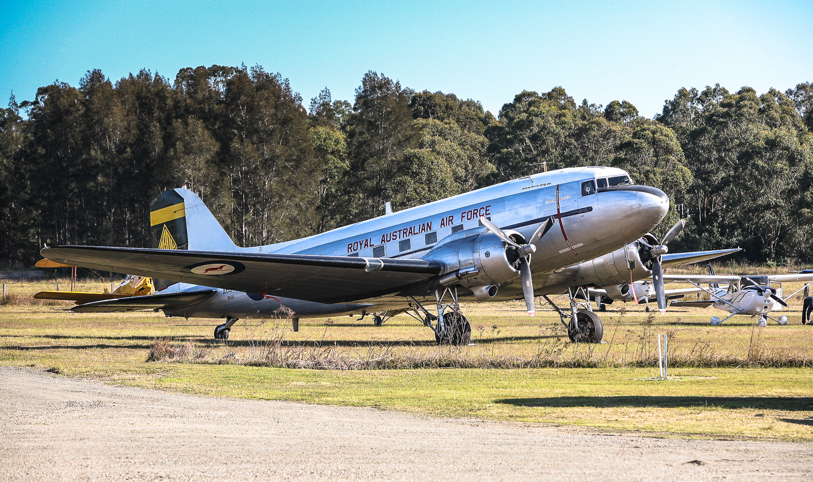 HARS C-47B Dakota parked on the opposite side of the viewing area at Maitland. (photo by Phil Buckley)