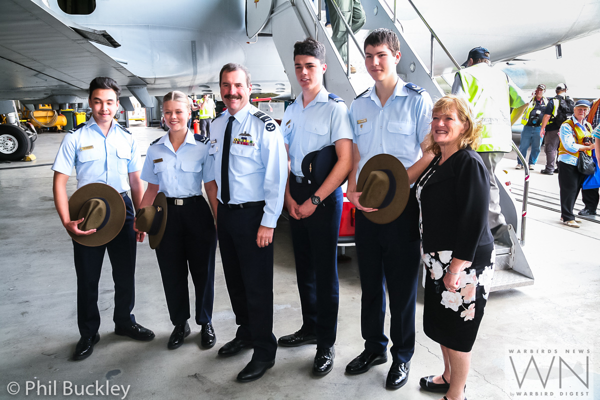 Some air cadets pose for a photograph with Chief of Air Force Davies and Mayor Saliba. (photo by Phil Buckley)