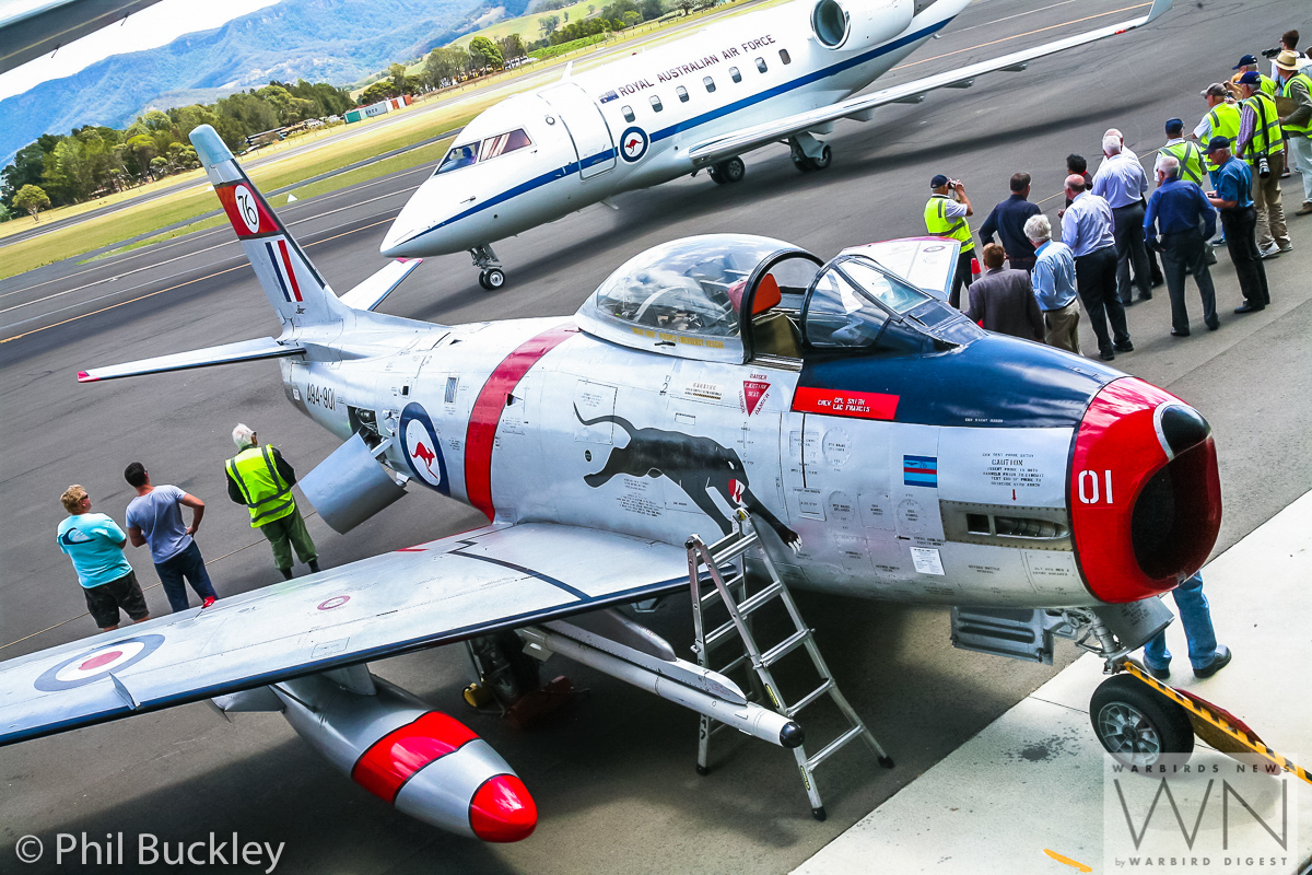 The HARS Sabre A94-901 in the foreground as Chief of Air Force Davies gets ready to depart in his Challenger. Interestingly, this CAC-built Sabre is the very first example to fly with the RAAF. (photo by Phil Buckley)