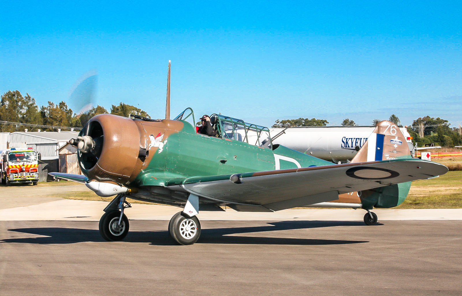 A CAC Wirraway taxiing before the crowd at the Maitland Air Show. (Phil Buckley photo)