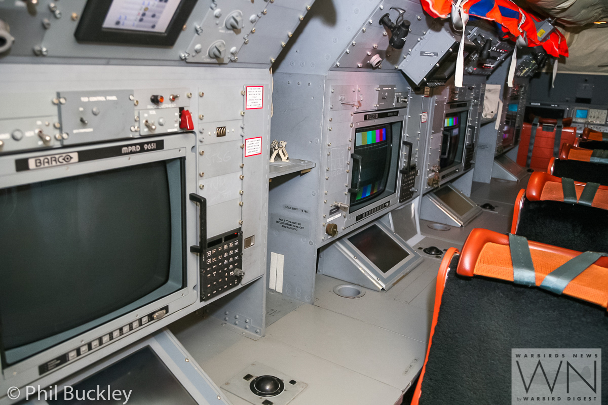 Inside HARS Orion. These are some of the work consoles which RAAF personnel used to man during reconnaisance flights. (photo by Phil Buckley)