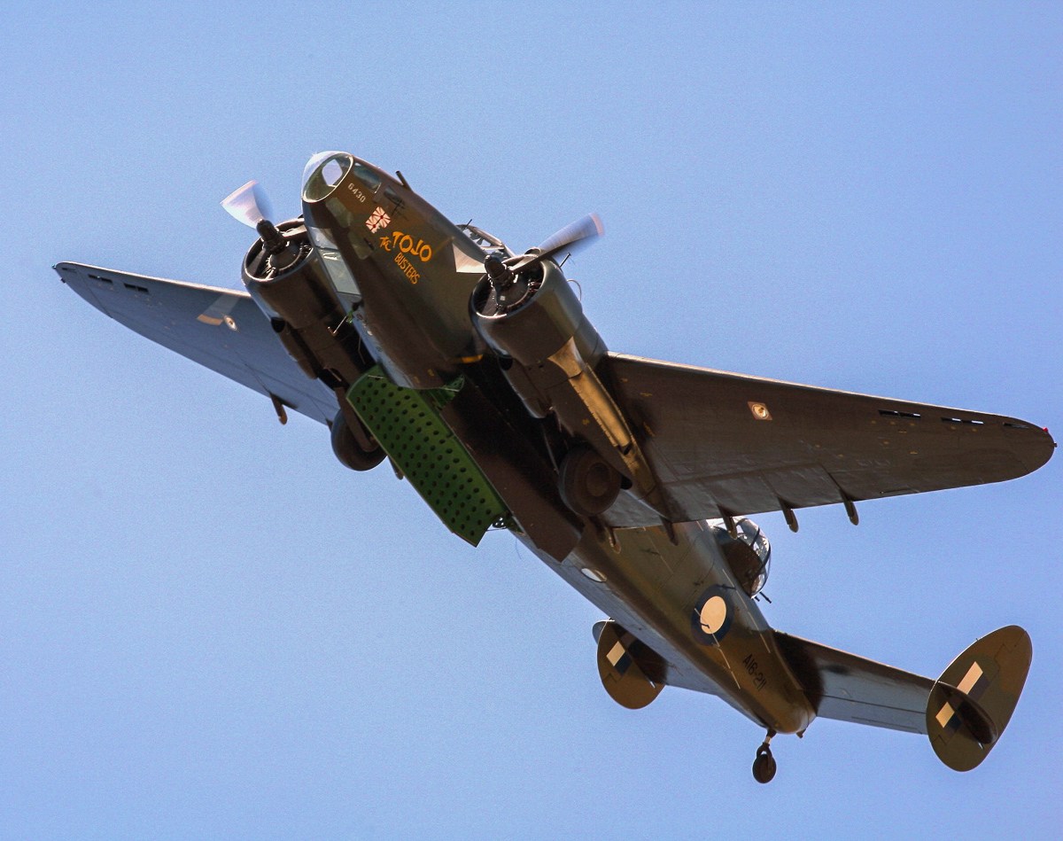 A great shot of the Lockheed Hudson strutting its stuff with bomb bay doors open. (photo by Phil Buckley)